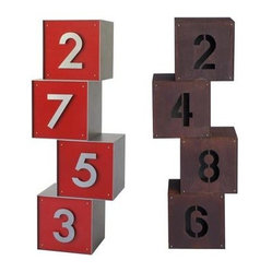 Cube Metal Address Sign - stackable, simple modern address sign