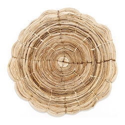 Sugar Cookie Placemat - These unusual circular place mats are a great way to bring some pizazz to casual summer dining. They are handmade from banana bark by skilled artisans and are completely natural and eco-friendly.  Perfect for alfresco dining on the deck or by the pool.  Wipe clean with a damp cloth.