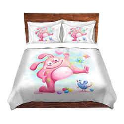 DiaNoche Designs - Duvet Cover Twill - Piki Piki - Lightweight and soft brushed twill Duvet Cover sizes Twin, Queen, King.  SHAMS NOT INCLUDED.  This duvet is designed to wash upon arrival for maximum softness.   Each duvet starts by looming the fabric and cutting to the size ordered.  The Image is printed and your Duvet Cover is meticulously sewn together with ties in each corner and a concealed zip closure.  All in the USA!!  Poly top with a Cotton Poly underside.  Dye Sublimation printing permanently adheres the ink to the material for long life and durability. Printed top, cream colored bottom, Machine Washable, Product may vary slightly from image.