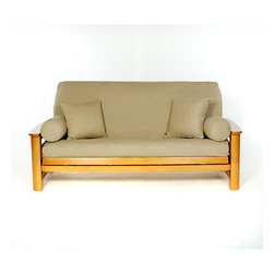 None - Khaki Full-size Futon Cover - Cover your full-size futon stylishly with this comfortable cotton futon cover. This slip-resistant cover features a concealed zipper and is tailored to look great on your futon sofa.