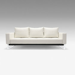 """Luxuriate Sleeper Sofa in White - Sleeping on a sofa bed has never been so comfortable as on the Luxuriate Sleeper Sofa's 10""""-thick, cushioned pocket spring mattress. Quickly unfolding to an impressive queen-sized bed, this sofa is just as beautiful and comfortable as a couch for daily use. In attractive white upholstery with supportive and comfortable back cushions, it will suit your modern living room—and your guests will thank you!"""