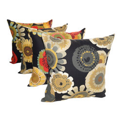 Land of Pillows - Crosby Ebony and Crosby Blackout Outdoor Floral Throw Pillows - Set of 4 - Give your sofa, window seat or patio lounge chair a boost of blooming color and design with these modern throw pillows. This set of four botanically patterned pillows are filled with high quality fiber and sewn closed. Crafted from a durable fabric that is stain, water and fade resistant, these square pillows work great indoors or out!
