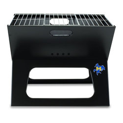"Picnic Time - McNeese State X-Grill Folding Portable Charcoal BBQ Grill - The X-Grill is the folding portable charcoal BBQ grill with a slim line design. Compact and easy to assemble, the X-Grill provides a grilling surface of 203.5 sq. in. The X-Grill includes 1 electro-plated iron barbecue grill, 1 chrome-plated tri-fold cooking grate (18.5"" x 11"") and 1 charcoal grate (all stored conveniently inside the folded grill), and 1 durable 600D polyester carrying tote. So why be confined to your backyard? With the X-Grill, you can take the BBQ wherever you want to go!; College Name: McNeese State; Mascot: Cowboys; Decoration: Digital Print; Includes: 1 electro-plated iron barbecue grill, 1 chrome-plated tri-fold cooking grate (18.5"" x 11"") and 1 charcoal grate (all stored conveniently inside the folded grill), and 1 durable 600D polyester carrying tote."