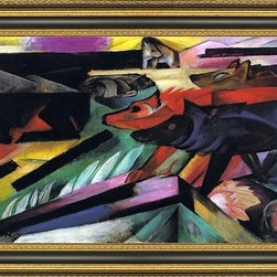 """Art MegaMart - Franz Marc Wolves (Balkan War) - 15"""" x 30"""" Franz Marc The Wolves (also known as Balkan War) framed premium canvas print reproduced to meet museum quality standards. Our Museum quality canvas prints are produced using high-precision print technology for a more accurate reproduction printed on high quality canvas with fade-resistant, archival inks. Our progressive business model allows us to offer works of art to you at the best wholesale pricing, significantly less than art gallery prices, affordable to all. This artwork is hand stretched onto wooden stretcher bars, then mounted into our 3 3/4"""" wide gold finish frame with black panel by one of our expert framers. Our framed canvas print comes with hardware, ready to hang on your wall.  We present a comprehensive collection of exceptional canvas art reproductions by Franz Marc."""