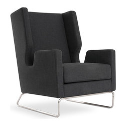 Gus Modern - Gus Modern Danforth Chair, Urban Tweed Ink - This wingback is no throwback, that's for sure. Its cutting-edge cutaway arms and tubular, stainless steel base are the height of modern design — a witty, elegant addition to your favorite setting.