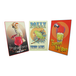Zeckos - Set of 3 Tropical Bar Signs with Parrots 16 In. x 20 In. - This set of signs will get you into a relaxed, tropical state of mind. The signs feature images of parrots with delicious drinks and crackers, and are a fun addition to your decor. Each one is made of metal, and measures 16 inches tall, 10 inches wide. They have pre-drilled holes in each corner, so they are easy to mount to any wall in your home, restaurant, or tiki bar.