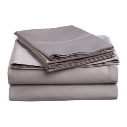300 Thread Count Twin Sheet Set Egyptian Cotton Solid - Grey - 300 Thread Count Egyptian Cotton Twin Grey Solid Sheet Set
