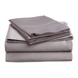 300 Thread Count Twin Sheet Set Egyptian Cotton Solid - Grey - 300 Thread Count Egyptian Cotton Twin Grey Solid Sheet Set