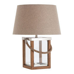 Kathy Kuo Home - Tate Coastal Beach Rectangular Glass Box Wooden Rope Lamp - No country style home or beach style cottage is complete without this richly constructed lamp. The lamp's materials of wood, rope and linen hint at the great outdoors as they combine to create a stylish, modern aesthetic. A rectangular clear glass base reflects the warm light from the light above - try filling it with shells and sea glass from your last trip to the shore lazy summer days all year long.