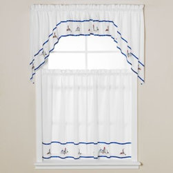 P D K Worldwide Enterprises - Lighthouse Window Curtain Valance in Blue - The ocean is never too far away with these colorful, nautical tiers embroidered with lighthouses and sailboats. The border is framed with a navy blue ribbon accent.