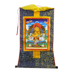 Golden Lotus - Tibetan Print Fabric Trim Deity Art Wall Scroll Thangka - This is a Tibetan Thangka which has print graphic of Tibetan Buddha or Deity Art at the center and surrounded by colorful fabric. It is in a scroll style for easy storage and display.