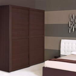 Wardrobe - As with all of our complements the wardrobe is available in a walnut, oak or white veneer. This sturdy wardrobe comes with sliding doors that move smoothly on high quality runners and rails, a 4 shelf compartment, 5 drawers and 3 hanging rails (of which 1 is removable so longer items can hang freely).