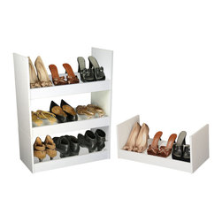 Venture Horizon - Stackable Shoe Racks - White - An Inexpensive Alternative...Build An Entire Wall. If budget is the word but you still have a ton of shoes than our inexpensive Stackable Shoe Racks are the way to go. You can stack them as high and as wide as you want. Build an entire wall and store 100's of pairs of shoes. Not only are they a practical alternative to more elaborate and expensive shoe cabinets they are also convenient. They are portable and you can take them with you anywhere. Fits into any closet, or works as a stand alone in any room in the house. Sturdily constructed from melamine laminated particle board. Available in all white or natural oak. Measures 10in. high, 24in. wide, and 12in. deep. Easy assembly required. Made in the USA.