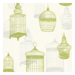 Avian Green Bird Cages Wallpaper. - Exhibiting a lofty fashion sense, with suede and gel ink accents, this wallpaper takes vintage inspiration to mod heights. Chartreuse and grey birdcages are displayed on a platinum pearl finish.