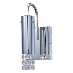 "ET2 - Bangle 1 Light Wall Sconce with Glass Shade - Features: -This item comes with a free light bulb. -Wall sconce. -Bangle collection. -Polished chrome finish. -Crystal glass shade. -Accommodates (1) 20W G4 T3 xenon bulb (included). Dimensions: -11"" H x 4.72"" W, 1.1 lbs."