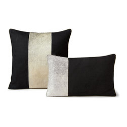 Cowhide Stencil Laser Cut Cushions - Feather/Down Filled - Throw Pillows Black Linen Fabric and Panels of Hair on Cowhide Cushions Feather Down Filled in two Sizes