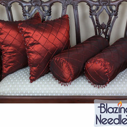Blazing Needles - Blazing Needles Beaded Satin Sheen Polyester Throw Pillows (Set of 4) - Add a touch of elegant style to your indoor furnishings with these throw pillows.  These pillows feature a classic beaded style and are covered with beautiful satin-sheen polyester.