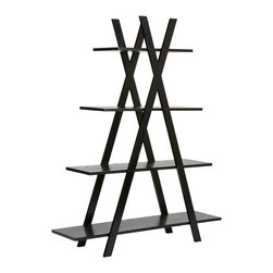 "Holly & Martin - Milford Etagere, Black - Help organize any room in your home with this sleek ""X"" shelf. Four shelves are held sturdy by two large ""X"" frames, each shelf decreasing in size the higher they are on the shelf. This shelving structure is great for any home office, living room or bedroom for books, pictures or flowers. With function and design, this shelf is sure to be a favorite with everyone."