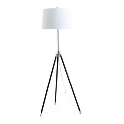 "House of Troy - AdjustableTripod Floor Lamp Satin Nickel - Dimensions: 46""-60""D, 18""W, 18""D. Shade Size: 16"" x 18"" x 11"""
