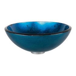 Kraus - Irruption Blue Glass Vessel Sink - Pop Up Drain & Mounting Ring Not Included