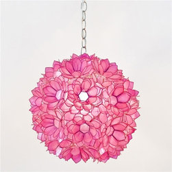 Venus Pendant Pink - This lotus pendant light with a hot pink tinted capiz shell is a fun way to add a pop of pink and a feminine touch to a room.