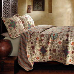 None - Esprit Spice 3-Piece Quilt Set - Add extra warmth to your bedding and a modern,youthful feel to your decor with this reversible,three-piece quilt set. Featuring a jewel-toned,floral motif on one side and coordinating stripes on the other,this coverlet is both versatile and lovely.