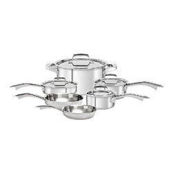 Zwilling - Zwilling TruClad Stainless Steel Cookware Set - 10 pc. - 40160-000 - Shop for Cookware Sets from Hayneedle.com! The Zwilling TruClad Stainless Steel Cookware Set - 10 pc. gives you everything you need to start creating amazing dishes in your kitchen. This set is made from high-quality stainless steel and features ergonomic stay-cool handles is oven- broiler- and dishwasher-safe and can be used on any cooking surface. Includes 10-inch skillet 1-quart saucepan with lid 2-quart saucepan with lid 3-quart saute pan with lid 6-quart stock pot with lid and an 8-inch frying pan.About Zwilling JA Henckels:JA Henckels has been producing the best in German steel knife design since 1895. Their products are designed for everyday use giving you the maximum value for your money. This modern company uses innovative technology to create the highest-quality products. They're so sure you'll be satisfied with their products that they back each one with a lifetime warranty. With several lines of quality cutlery and other products you're sure to find the perfect housewarming or wedding gift or addition to your own kitchen.About Truclad Cookware:Zwilling J.A. Henckels manufacturer and distributor of Truclad Cookware is recognized globally for the highest possible quality and function. TruClad Cookware features technologically advanced SIGMA Clad 3-ply construction that's 3 mm thick. Its three-layer construction ensures quick and even heating not just on the bottom of the pan but up the sides as well. The brightly polished magnetic stainless steel exterior is safe for all types of stovetop burners - gas electric ceramic halogen and induction. The 18/10 stainless steel interior which is the most corrosion-resistant type of stainless steel ages beautifully and won't react to acidic foods. It's even safe for use with all types of utensils including metal.Truclad Cookware has ergonomic stainless steel stay-cool handles that can be used in the oven but be sure to wear oven gloves. This cookware is dishwasher-safe but to enhance the life of it hand-washing is recommended. However do not submerge it in water for an extended period of time. Make sure to clean the cookware directly after use as the remaining heat makes cleaning easier and reduces watermarks. When using pans with Thermolon coating wipe the cookware with oil prior to the first use. Because of Truclad's excellent heat distribution it's not necessary to heat your cookware on the highest setting. It's important to set the right temperature and reducing the heat in time is not only energy-efficient but also prevents the pan and food - from overheating. By following these tips your Truclad Cookware will deliver perfect results.For product or warranty information contact the Consumer Service department at 1-800-777-4308 ext. 3801 between 9 a.m. and 5 p.m. EST or email info@zwillingus.com.