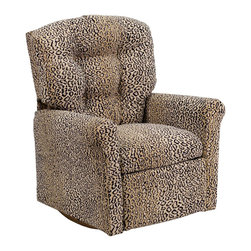 """Flash Furniture - Kids Top Cat Microfiber Rocker Recliner - Kids will now be able to enjoy the comfort that adults experience with a comfortable recliner that was made just for them! This chair features a strong wood frame with soft foam and then enveloped in durable microfiber upholstery for your active child. Choose from an array of colors that will best suit your child's personality or bedroom. This petite sized recliner features a rocker frame for kids to enjoy and feel like a big kid. The rocking feature becomes disabled once the chair is reclined for safety. Child's Recliner; Top Cat Microfiber Upholstery; Easy to Clean Upholstery; Plush Button Tufted Back; Spring Seat; Fire Retardant Foam; UFAC Tested and Approved; Solid Hardwood Frame; Hardwood Rocker Frame; Intended use for Children Ages 2-9; 90 lb. Weight Limit; Safety Feature: Will not rock while reclined due to welded T-Bar; Overall dimensions: 22.5""""W x 24"""" - 37""""D x 28""""H"""