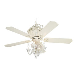 "Casa Vieja - Crystal 52"" Casa Chic Antique White Ceiling Fan with 4-Light Kit - This Casa chic™ ceiling fan has a rubbed white finish with motor with white blades is paired with a candelabra light kit in rubbed white finish with crystal bead accents for a chic look.. Also features a pull-chain operation with a 3-speed reversible motor. 4 1/2"" and 10"" downrods with scroll included.  Antique rubbed white finish.  White finish blades.  13.5 degree blade pitch.  52"" blade span.  4 1/2"" and 10"" downrods with scroll included.  Fan motor only 16.6"" height (with out downrod).  Light kit in rubbed white finish with crystal bead accents.  Light kit 15"" wide and 12"" high.   Pull-chain operated light kit.   Takes four 40 watt candelabra bulbs (included).   Minimum 9ft ceiling required with scroll."