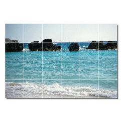 Picture-Tiles, LLC - Beach Photo Shower Tile Mural 24 - * MURAL SIZE: 32x48 inch tile mural using (24) 8x8 ceramic tiles-satin finish.