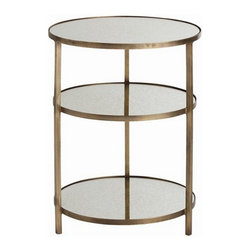 Arteriors Home - Arteriors Home Percy Antique Brass/Mirror End Table - Arteriors Home 2032 - Arteriors Home 2032 - Add some luxury to your dcor with the Percy Antique Brass End Table from Arteriors Home. Circular design end table has an antique brass frame with a wonderful patina. Each of the three tiers of this design has a sheet of antique mirror glass which has a stylish, cloudy look.