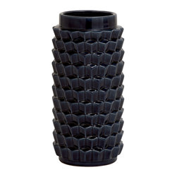 Black Colored Fascinating Ceramic Crackled Vase - Description:
