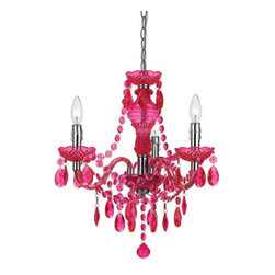 angelo:HOME - angelo:HOME Fulton 8502-3H Mini Chandelier - Pink - 8502-3H - Shop for Chandeliers from Hayneedle.com! It's always a party when you have the Angelo Surmelis Fulton Mini Chandelier Pink hanging in your space. Brightly colored magenta crystals lend a mix of formal and fabulous a perfect pop for your bedroom dining room or foyer. The plastic beaded design is bright and durable and the metal frame provides stability as well as a shiny chrome finish. This hanging chandelier can be hard wired or plugged in to best suit your needs. Light bulbs are not included.About angelo:HOME:When he was 6 Angelo Surmelis and his family moved from Greece to the United States. In their new home 6-year-old Angelo started dragging furniture around rearranging it. From that early age he believed that your space - and the way it's arranged - can change the way you feel. This philosophy has landed him on design series on TLC Lifetime The Style Network and HGTV as well as several different television talk shows. Now with Angelo's line of furniture and accessories you can change your space - and the way you feel - quickly and affordably.