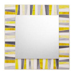 "Mosaic Mirror - White, Yellow, Gray (Handmade), 30"" X 30"" - MIRROR DESCRIPTION"