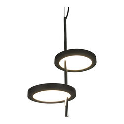 Contemporary Pendant Light with 2 Circular Acrylic Shades - Reflect your personal sense of style by utilizing this simple and clean pendant lighting fixture within your home. It displays 2 circular plates in a well-arranged design, and with the high quality acrylic diffuser, it casts a clean bright and friendly glow to illuminate your living space.