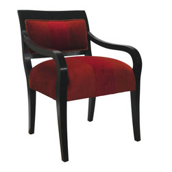 Madera Home - Red Velvet Chair - This dramatic velvet chair has a sumptuous feel and was designed by the celebrated textile artist, Veronese Bellarte. Cuddle up with a book and use it to warm up your living room, entry or bedroom.
