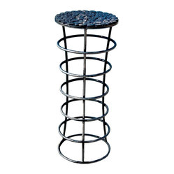 Great Deal Furniture - Roosevelt Iron Plant Stands (Set of 2) - The Roosevelt Iron Plant Stands provide a contemporary design for your outdoor space. Sturdy iron construction can withstand the weather while the unique tabletop makes the set perfect out outdoor or patio use.