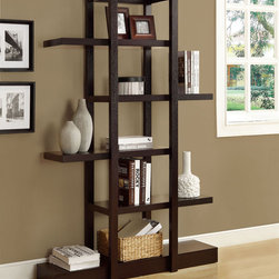 Monarch - Cappuccino 71in.H Open Concept Display Etagere - Add visual depth to any decor with this cappuccino finished open concept shelf display. The 71 in. high unique design is sturdy with its solid-wood finish. Its open concept allows for ample room to display pictures, decorative pieces and even books. This piece is a great addition to your living room, hallway or even bedroom. What an exquisite piece!