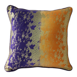 Auburn Textiles - Velvet Foil Print Pillow In Orange And Purple - Add style and flair to your home decor with this trendy decorative throw pillow. This Velvet Foil Print pillow showcases a gorgeous print motif in Orange and Purple colors wrapped around a plush polyester fill for a luxurious look and feel.