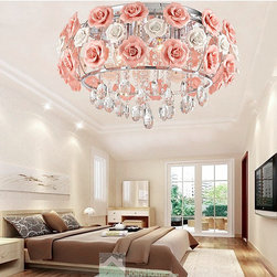 Romantic Rose Pendant Lighting Ceramic Flower - Item #: LF0603038