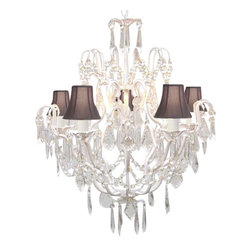 The Gallery - Wrought Iron and Crystal Chandelier with Black Shades - Turn on the elegance every time you turn on the light. A  spectacle of sparkling crystal set off by dainty fluted shades brings unsurpassed dazzle to your decor.