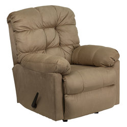 Flash Furniture - Contemporary Padded Microfiber Rocker Recliner - Great looks and extreme microfiber comfort come to mind when you sit in this quality made rocker recliner. Its style works well with any decor, and it delivers everything you expect in a piece of home furniture, all at a great value.