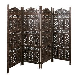 Flower Jali 4-panel Screen - Bring elegance and style into your home with this handcrafted mango wood Jali 4-panel screen. Jali is the intricately carved details that are inset in windows, to give privacy inside, while still allowing for wind to pass through.
