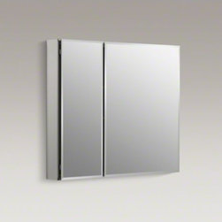 "KOHLER - KOHLER 30"" W x 26"" H aluminum two-door medicine cabinet with mirrored doors, bev - With a sleek mirrored surface inside and outside, this 30-inch frameless medicine cabinet is a versatile option. The two mirrors on the front doors have a 1/2-inch bevel and appear as one larger mirror for a design that integrates easily into any bath or"