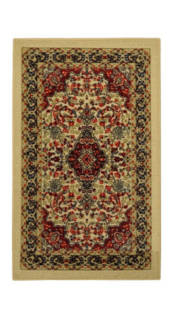 None - Rubber Back Ivory Traditional Floral Non-Slip Door Mat Rug (1'6 x 2'6) - This affordable and fashionable rubber back ivory traditional floral non-slip door mat is a great way to set a color theme in the home.