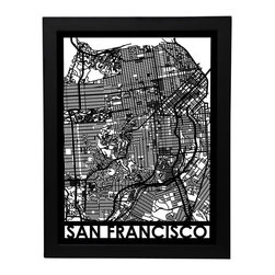 Cut Maps - San Francisco Street Map - The Cut Maps 'City Art' collection are designed from real city maps, they provide a unique birds-eye view of your favorite neighborhoods and streets to display in your home or office.