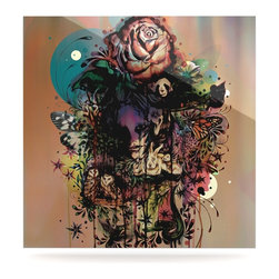 """Kess InHouse - Mat Miller """"Doom and Bloom"""" Dark Rose Metal Luxe Panel (8"""" x 8"""") - Our luxe KESS InHouse art panels are the perfect addition to your super fab living room, dining room, bedroom or bathroom. Heck, we have customers that have them in their sunrooms. These items are the art equivalent to flat screens. They offer a bright splash of color in a sleek and elegant way. They are available in square and rectangle sizes. Comes with a shadow mount for an even sleeker finish. By infusing the dyes of the artwork directly onto specially coated metal panels, the artwork is extremely durable and will showcase the exceptional detail. Use them together to make large art installations or showcase them individually. Our KESS InHouse Art Panels will jump off your walls. We can't wait to see what our interior design savvy clients will come up with next."""