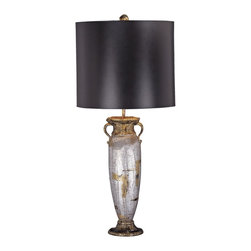 """Flambeau Lighting - Flambeau Iberville Urn Vase Table Lamp - This vase body with handles is finished in luminous silver leaf and highlighted by black and gold leaf accents. A black shade and gold ball finial top this lovely and dramatic design by Benjamin Burts. Another unique and wonderful table lamp from New Orlean's own Flambeau Lighting. Takes one 100 watt three-way bulb (not included). 31 1/2"""" high. 14"""" wide. 14"""" deep.  Silver leaf finish with gold leaf and black accents.  Black shade.  Takes one 100 watt three-way bulb (not included).   31 1/2"""" high.  14"""" diameter shade."""