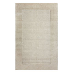 nuLOOM - nuLOOM Hand Loomed Woven Solid Border Rug, Cream, (7.6' X 9.6') - Material: 100% Wool