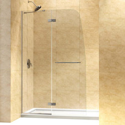 """DreamLine - DreamLine Aqua Ultra Frameless Hinged Shower Door and SlimLine 34"""" by - This kit combines an AQUA ULTRA shower door with a coordinating SlimLine shower base. The unique and sophisticated curved silhouette gives this door an attractive European flair, while an innovative u-shaped wall profile provides an easy installation. A SlimLine shower base completes the transformation with a modern low profile design. DreamLine shower kits provide the perfect solution for a bathroom remodel or tub-to-shower conversion project. Items included: Aqua Ultra Shower Door and 34 in. x 60 in. Single Threshold Shower BaseOverall kit dimensions: 34 in. D x 60 in. W x 74 3/4 in. HAqua Ultra Shower Door:,  45 in. W x 72 in. H ,  5/16 (8 mm) clear tempered glass,  Chrome or Brushed Nickel hardware finish,  Frameless glass design,  Out-of-plumb installation adjustability: Up to 1/4 in. one side,  Solid brass hinges and anodized aluminum u-shaped wall profile,  Convenient towel bar on the outside panel,  Stationary panel: 20 11/16 in.,  Reversible for right or left door opening installation,  Material: Tempered Glass, Aluminum,  Tempered glass ANSI certified34 in. x 60 in. Single Threshold Shower Base:,  High quality scratch and stain resistant acrylic,  Slip-resistant textured floor for safe showering,  Integrated tile flange for easy installation and waterproofing,  Fiberglass reinforcement for durability,  cUPC certified,  Drain not included,  Center, right, left drain configurationsProduct Warranty:,  Shower Door: Limited 5 (five) year manufacturer warranty ,  Shower Base: Limited lifetime manufacturer warranty"""